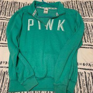 PINK zip up fleece crew neck